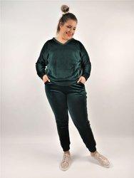 Zielone welurowe spodnie PLUS SIZE ze złotym lampasem