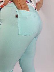 Błękitne spodnie 7/8 strecz, wysoki stan , nogawka z zamkiem
