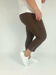 Brązowe  spodnie 7/8 strecz, wysoki stan, nogawka z  zamkiem