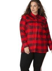 Cienka koszula XXL w czerwoną kratę