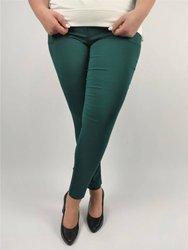 Długie malachitowe spodnie strecz z wąską nogawką XXL