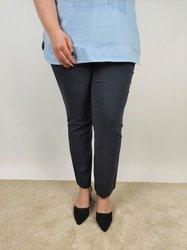 Grafitowe spodnie PLUS SIZE strecz, prosta nogawka bez kieszeni