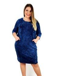 Granatowa, przecierana sukienka xxl z miękkiej dzianiny jeansowej