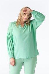 Miętowa koszula damska xxl z marszczonymi rękawami