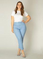 Spodnie damskie  w błękitną krateczkę plus size