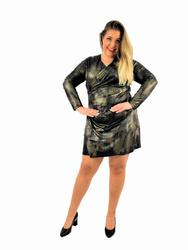 Wygodna, dopasowana czarno - złota sukienka PLUS SIZE