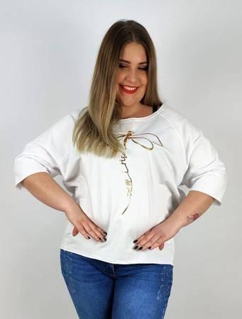Biała bluzka plus size ze złotą ważką