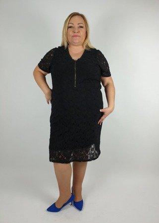 Sukienka mała czarna koronkowa z zamkiem